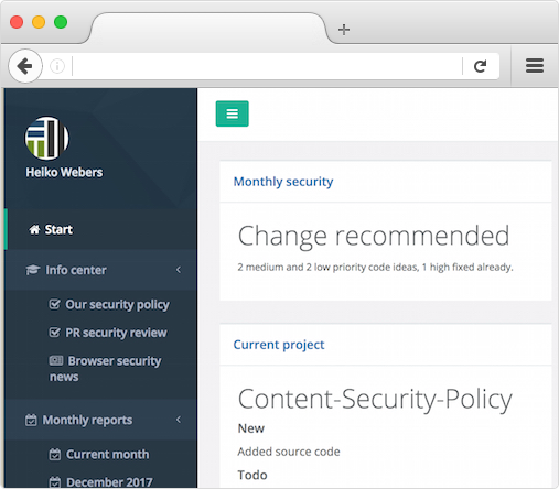 Example of the Trackman Up web UI (monthly Ruby on Rails security)